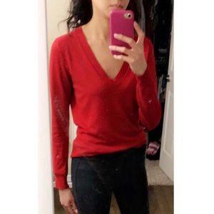 Brand New Zara Red V Neck Knit Sweater